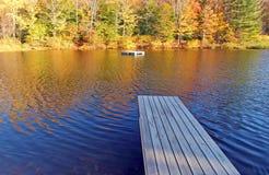 Docks, Grafton Ponds, Grafton, Vermont in Fall. Boat and swim docks Grafton Ponds Vermont royalty free stock photography