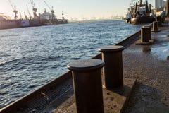 Docks at Hamburg harbor with cranes and ships royalty free stock photos
