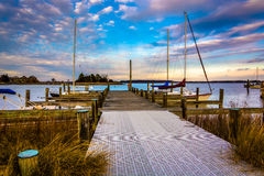 Docks in the harbor at St. Michael's, Maryland. Royalty Free Stock Photo
