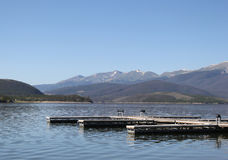 Docks on Lake Dillon Royalty Free Stock Photo