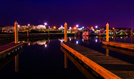Docks in a marina at night, Kent Island, Maryland. Stock Photos