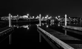 Docks in a marina at night, Kent Island, Maryland. Stock Image