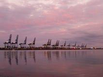 Docks At Night. The cranes at Felixstowe Docks, UK under a beautiful sunset stock photos
