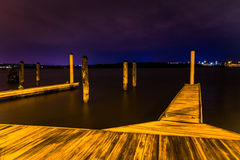 Docks at night in Alexandria, Virginia. Royalty Free Stock Photography