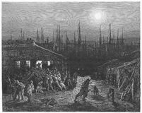 The Docks Night Scene. Picture from Gustave Dore's London: a Pilgrimage illustrated book published in 1873, London - UK royalty free illustration