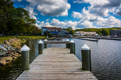 Docks at North East Community Park in North East, Maryland. Royalty Free Stock Images