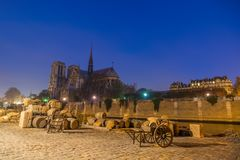 Docks of Notre Dame Cathedral in Paris Stock Photography