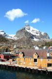 The docks of Nusfjord   in Lofoten Royalty Free Stock Photo