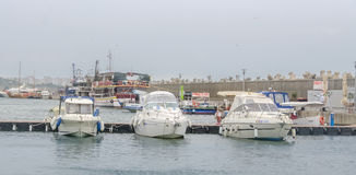 Docks (port) with boats, dockyard with yachts from Constanta, Romania Royalty Free Stock Images