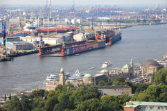 Docks in the port of Hamburg Stock Photos