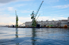 Docks of submarine and shipbuilding or shipyard in the sea at Ko stock photos