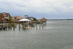 Docks sur une baie de la Floride Photo libre de droits