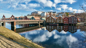 The docks of Trondheim, buildings and river royalty free stock images