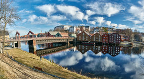 The docks of Trondheim, buildings and river royalty free stock photo