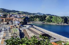 On the docks. View at the docks of Getaria city in Spain stock photo
