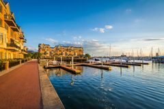 Docks and waterfront condominiums in Canton, Baltimore, Maryland.  stock photography