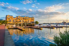 Docks and waterfront condominiums in Canton, Baltimore, Maryland.  royalty free stock image