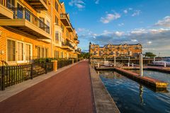 Docks and waterfront condominiums in Canton, Baltimore, Maryland.  stock images