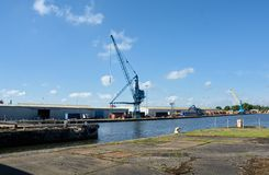 Dockside crane. Goole, East Riding of Yorkshire. Large industrial area and crane in the heart of a dockside area in the town of Goole, East Riding of Yorkshire royalty free stock photography
