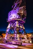 Dockside Crane at night stock photography