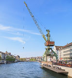 Zurich cityscape with a dockside crane Stock Photo