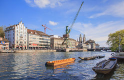 Zurich cityscape with a dockside crane Stock Images