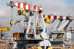 Dockside cranes - Industrial Genoa Port Royalty Free Stock Image