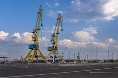 Dockside cranes on rail Royalty Free Stock Photo