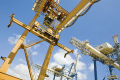 Dockside Cranes Used For Unloading Container Ships Stock Photo