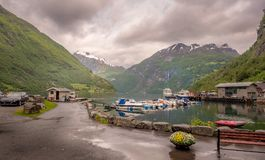Dockside Geiranger Norway in midsummer royalty free stock photo