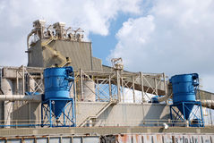 Dockside Grain Storage Plant Detail Royalty Free Stock Images