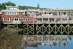 Dockside lobster restaurant in historic Bar Harbor, Maine Royalty Free Stock Photography