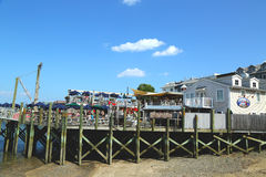 Dockside lobster restaurant in historic Bar Harbor Stock Photos