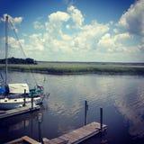 Dockside przegląda Appalachia Floryda Zdjęcia Stock