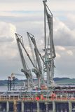 Dockside Pumps for unloading Oil Tanker cargo Royalty Free Stock Image