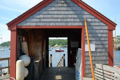 Dockside shack for storing nautical gear Stock Photography
