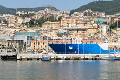 Dockside und Terrassen, Genua, Italien stockbild