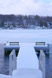 Dockside View of Lake in Winter Stock Image