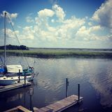 Dockside views Appalachia Florida. Views next to Oyster beds in Stock Photos