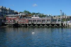 Docksidehummerrestaurant im historischen Bar-Hafen Stockbild