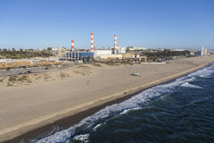 Dockweiler State Beach and Power Plant in Los Angeles California. Aerial view of Dockweiler State Beach and Power Plant in Los Angeles, California Royalty Free Stock Images