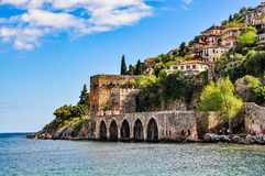 Dockyard and arsenal in Alanya on a beautiful, sunny day royalty free stock images