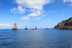 Dockyard i arsenał w Alanya, Turcja Część antyczny stary kasztel Zdjęcie Stock