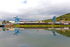 Dockyard on river main Royalty Free Stock Images