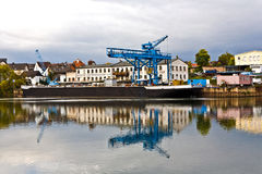 Dockyard on river main Royalty Free Stock Image