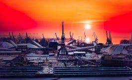 Dockyard winter sunset Royalty Free Stock Image