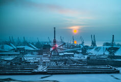 Dockyard winter sunset. Neutral density royalty free stock image
