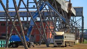 Dockyard work. Heavy machinery loading a truck in the dockyard Royalty Free Stock Photo