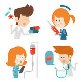 Docter and nurse flat character design Stock Photography