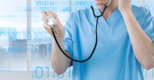 Docteur à l'aide du stéthoscope sur le fond digitalement produit image stock